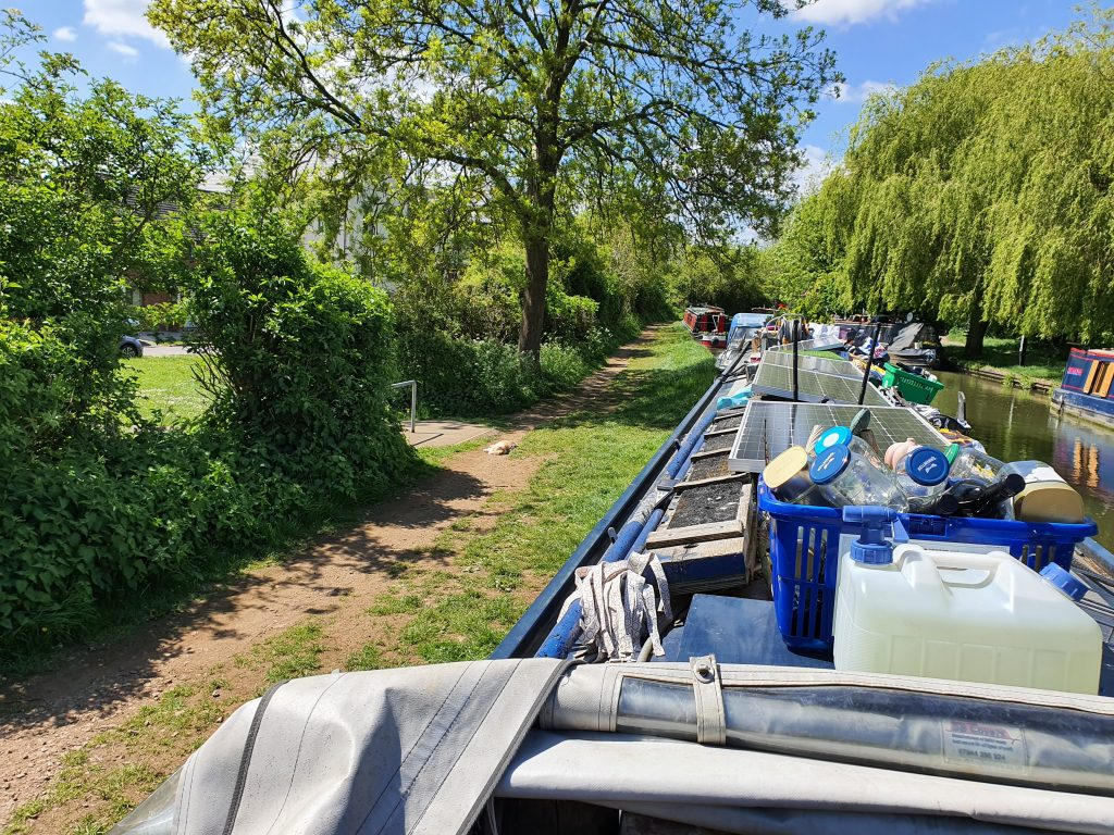 Moored at Rugby with Dixie enjoying the sun