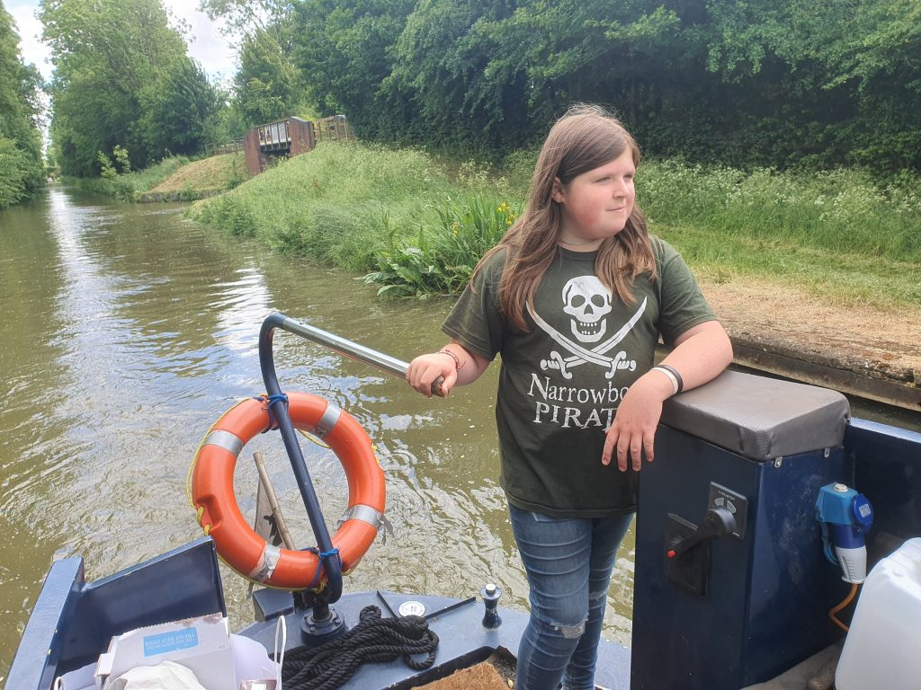 CC piloting on the Oxford past Brinklow Marina entrance.